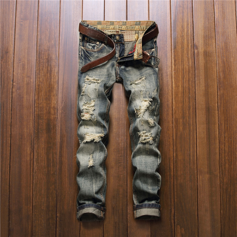 Mens Distressed Jeans Retro Claw Hole Teen Patchwork Ripped Destroyed Cool Jeans For Juniors Students No Belt Mj006