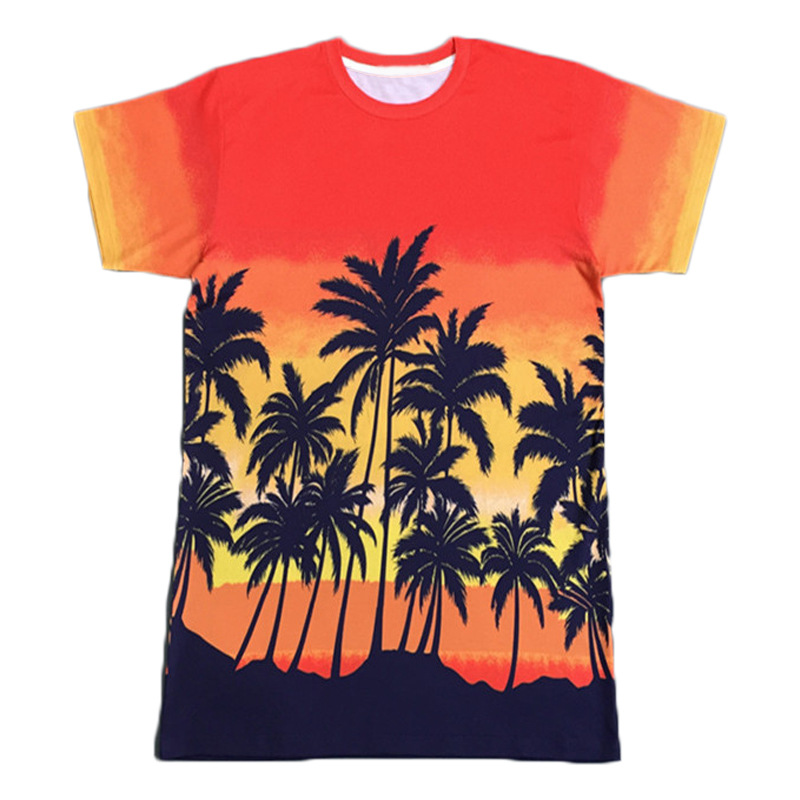 Hot Style Men/women New Fashion 3d Printing Coconut Tree Orange T Shirt Casual Short Sleeve T-shirt Hip Hop Tops Tees Wholesale
