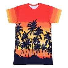 Hot Style Men/women New Fashion 3d Printing Coconut Tree Orange T Shirt Casual Short Sleeve T-shirt Hip Hop Tops Tees Wholesale