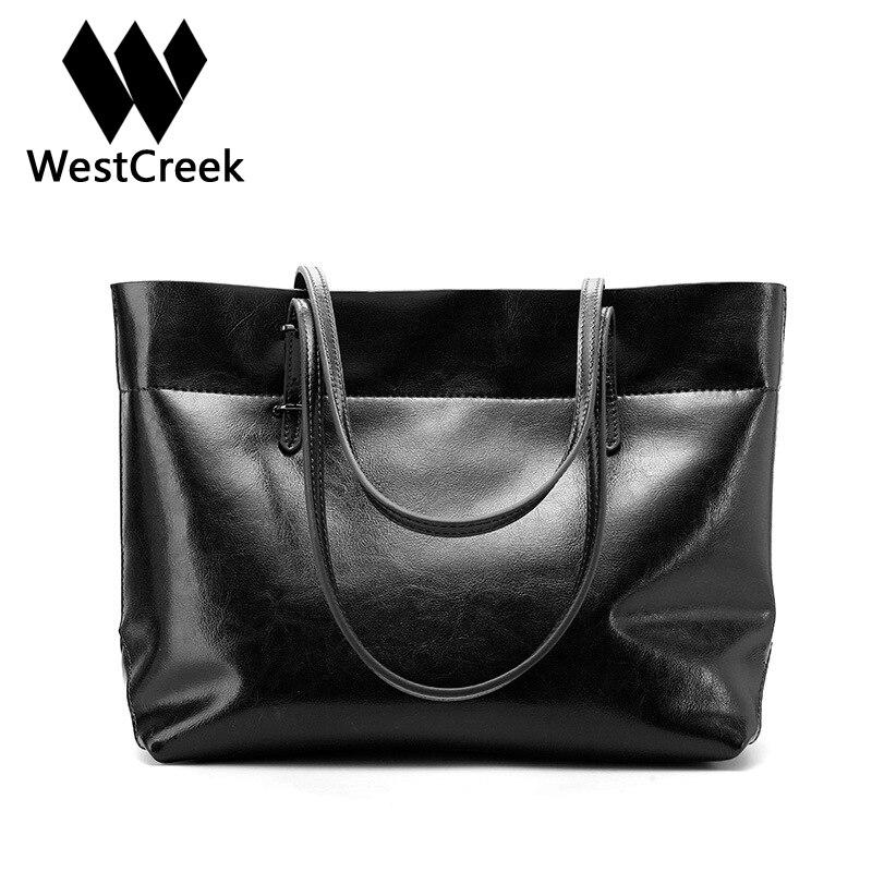 Westcreek Brand Women Large Capacity Handbag Split Leather Lady Casual Totes Retro Bucket Bags Female Shoulder Bag