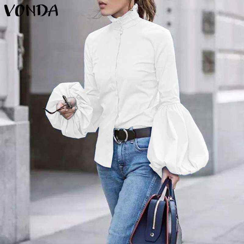 VONDA Plus Size Tunic Women's Blouse 2019 Autumn Casual  Long Lantern Sleeve Shirt Office Lady Blusas Buttons Turtleneck Tops