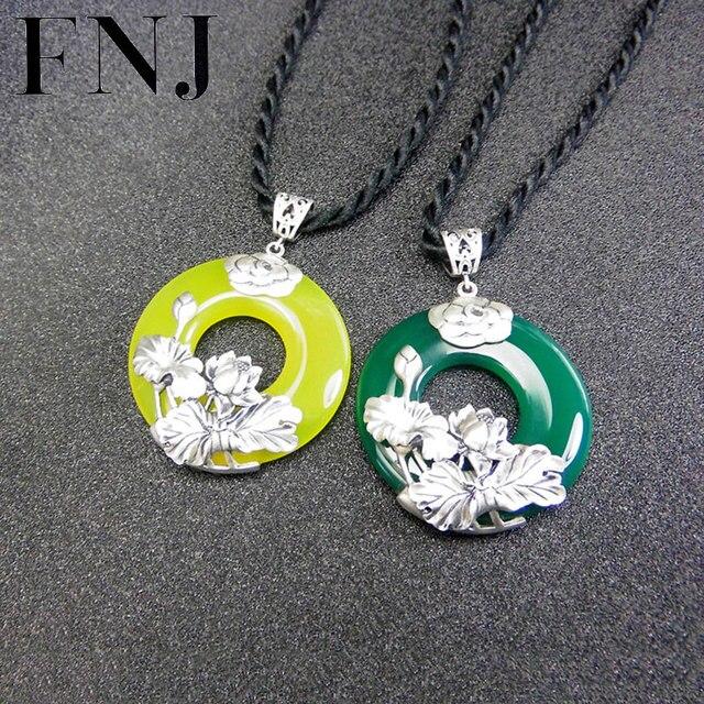 Fnj 925 silver lotus pendant flower natural white green yellow stone fnj 925 silver lotus pendant flower natural white green yellow stone pure s925 original silver pendants audiocablefo