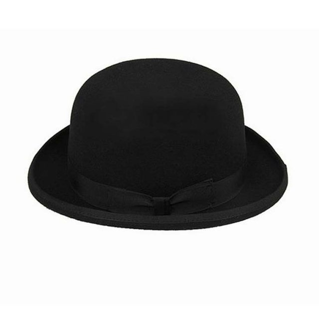 100% Wool Brown Bowler Hat luxury felt billycock hats for men with belt  rolled brim casquette 24000e6a2b6