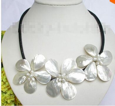 Baroque bloom blanc perle coquillage choker en cuir collier j7458 usine prix de gros femmes cadeau word bijoux