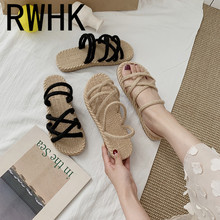 RWHK Sandals female fairy wind 2019 new summer cross linen fashion wild student flat Roman shoes womens sandals B065