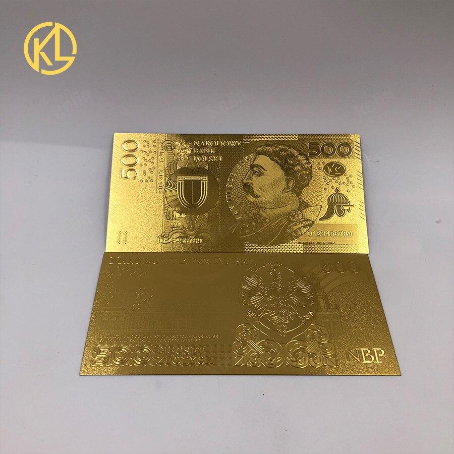 1 шт. unised 1994 Edition Poland Currency designed цветной 24 K позолоченный банкнот 500 PLN для банка подарочные сувениры - Цвет: 500PLN2017
