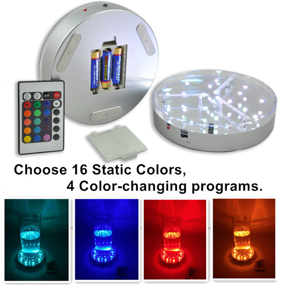Kitosun 3AA Battery Powered 19 LED Colored Lights Illuminated Crystal Display Stand Base With Remote Controller For Wedding