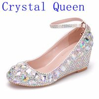 Crystal Queen Womens Wedding Shoes Woman High heels Pumps Bling Shining Platform Wedge shoes Ladies Party Dress Shoes 5CM Heels