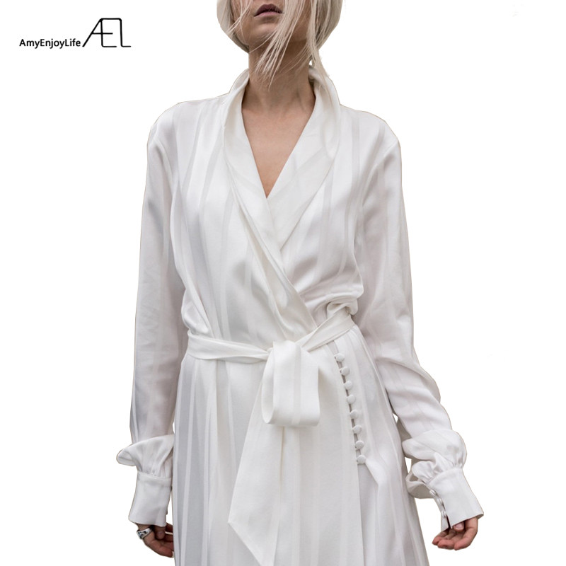 AEL Striped Satin Pajamas Style Loose Women Dress 2018 Celebrity Robe Femme White Casual