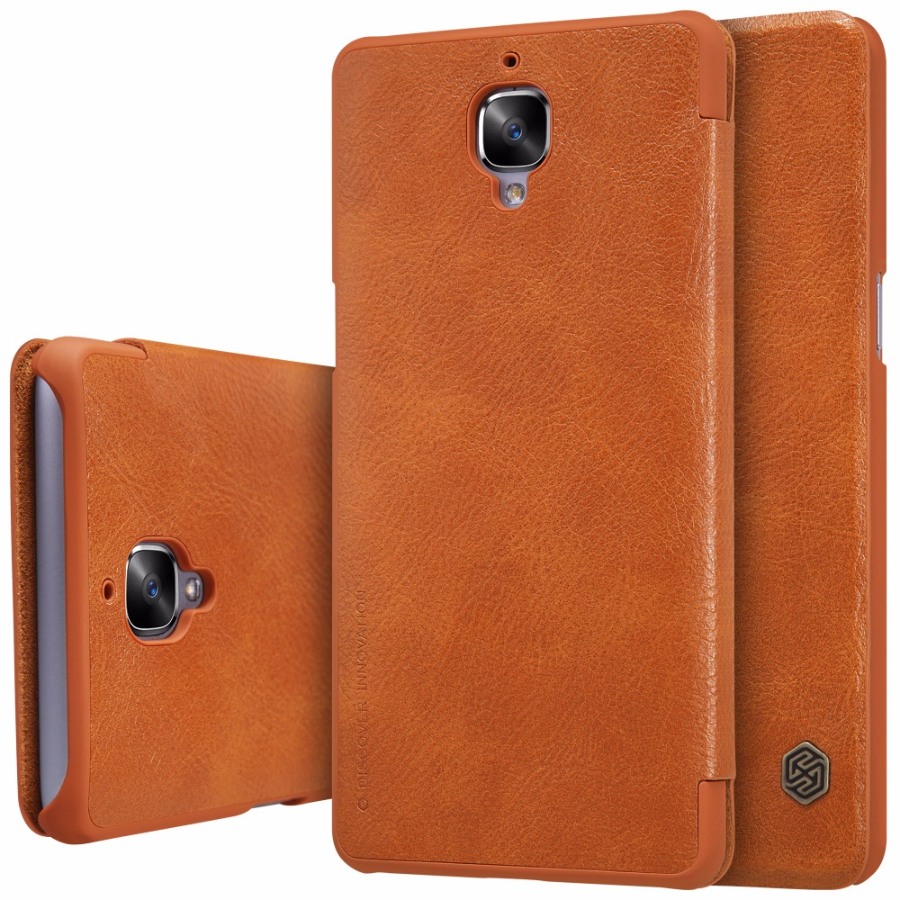 Oneplus 3T Case Nillkin Qin Genuine Real Nature Leather Flip Cover One plus 3 A3000 Sleep Function Retail Package  -  Waker Electron Co.,Ltd Store store