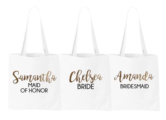 personalized name bride bridesmaid maid of honor tote bags wedding
