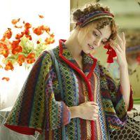 Линетт's Chinoiserie зима оригинальный Дизайн Для женщин Изысканный Вышивка в радужную полоску кисточкой Винтаж Термальность пальто Верхняя оде