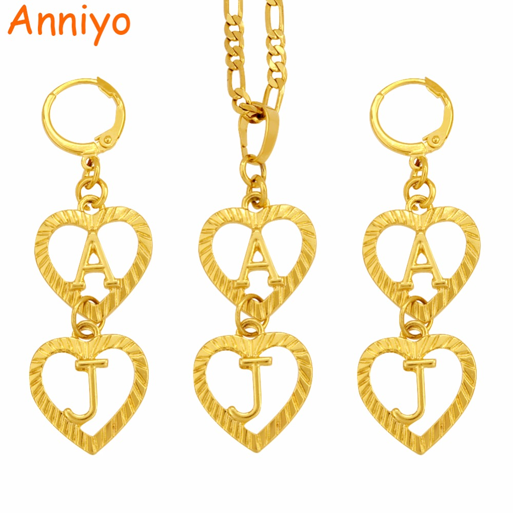 Anniyo (More Letter Design Go To My Store) Customized Letter Name Necklace Earrings (Tell Me What Name Do You Want) #104306 more fool me
