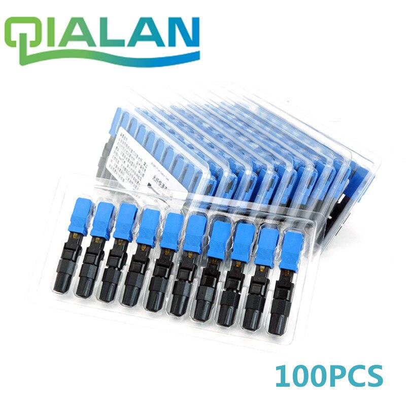 SC UPC Schnelle Stecker 100 stück Ftth Optische Connectos Embedded Stecker FTTH Werkzeug Kalten Faser Schnelle UPC Stecker
