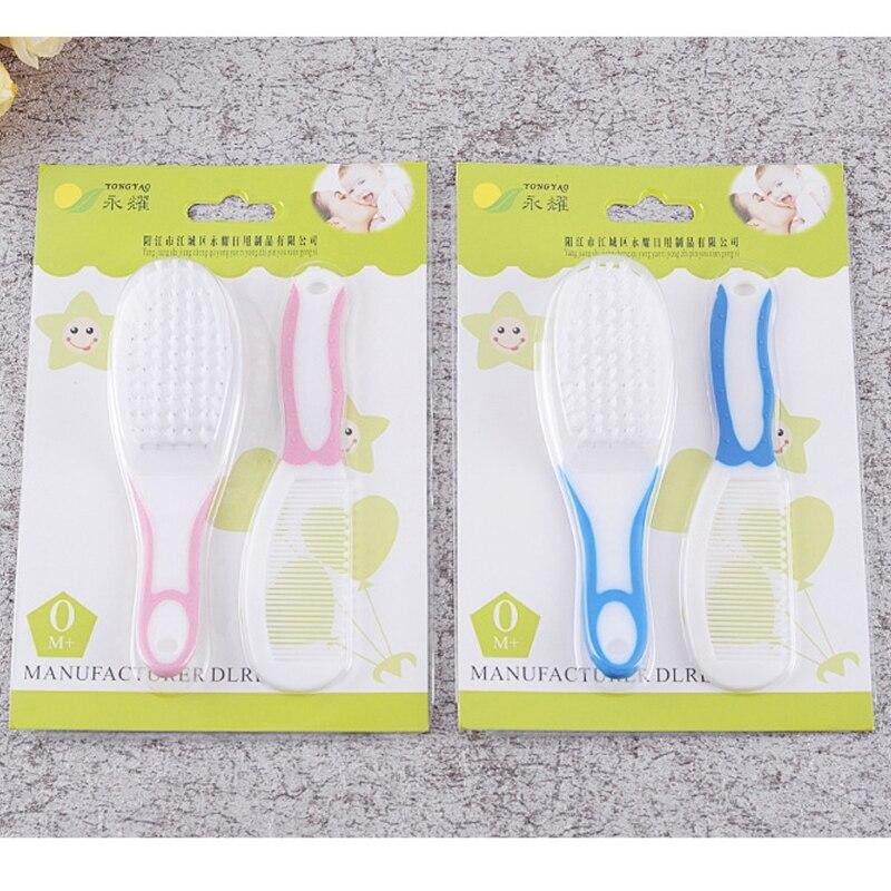 2pcs Portable Soft Newborn Baby Hair Brush Comb Hairbrush Sets Head Massager New