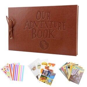 Image 2 - Винтажный альбом из крафт бумаги, 80 страниц, набор карт, альбом с надписью «My Adventure» и инструментом «сделай сам», фотоальбом для скрапбукинга
