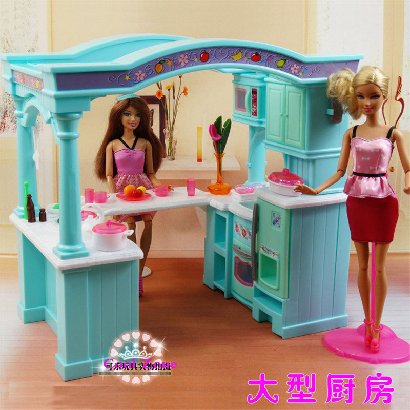 Super Big Size Green Open Kitchen Furniture for Barbie Doll house Toy Accessories