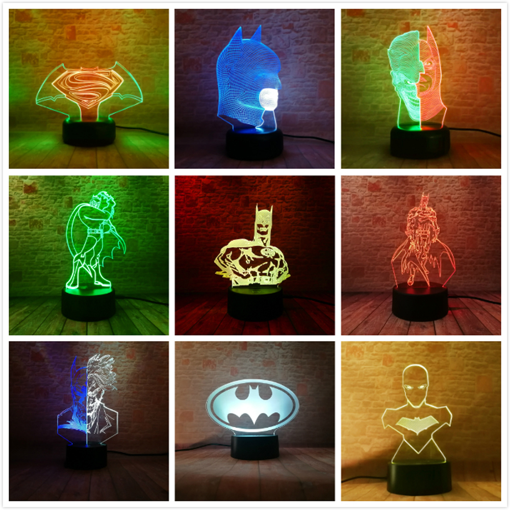 11 Diff Marvel Super Hero DC Batman Action Figures 3D Illusion Table Lamp 7 Color Gradient Night Light Boys Man Xmas Toys Gifts marvel s the avengers super hero creative 3d hulk night light acrylic 7 colorful gradient led lamp desk table light boy kid gift