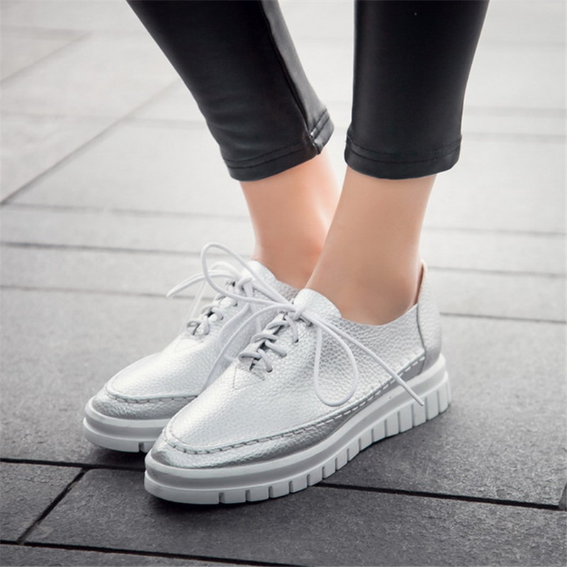 2017 Summer Women Leather Shoes Loafers Platform Casual Shoes Woman Lace-Up Female Shoes Moccasins zapatos mujer Plus size 34-43 plus size 34 45 new summer women shoes casual cutouts lace hollow floral breathable platform shoe increased internal mujer shoes
