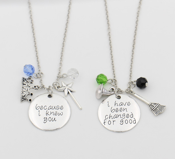 "Wicked the Musical Necklace Set,""Because I knew you"" ""I have been Change for Good""the Magic Wand Collier Femme Bijoux Necklace"