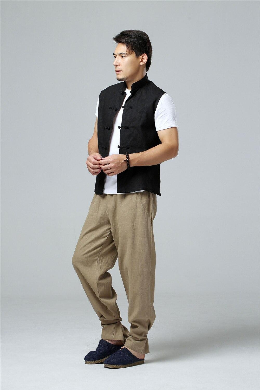 LZJN 2019 Men's Summer Waistcoat Chinese Style Vintage Breathable Linen Button Down Kung Fu Shirt Sleeveless Vest Jacket  (36)