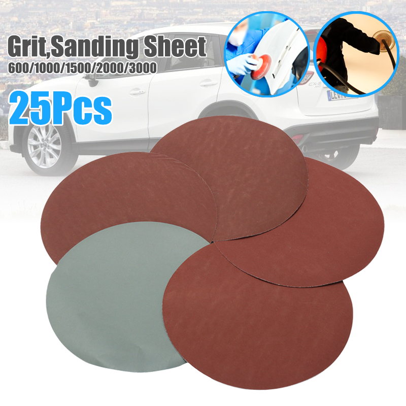 25pcs 150mm/6 Inch 600/1000/1500/2000/3000 Grit Sanding Sheet Discs Hook And Loop Round Shape Sandpaper Mixed Polishing /Clean