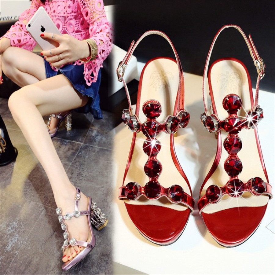 Crystal Gladiator String Beed Sandals Summer Square High Heels Sandals Women Casual Shoes Woman Pumps Rhinestone Shoes Luxury