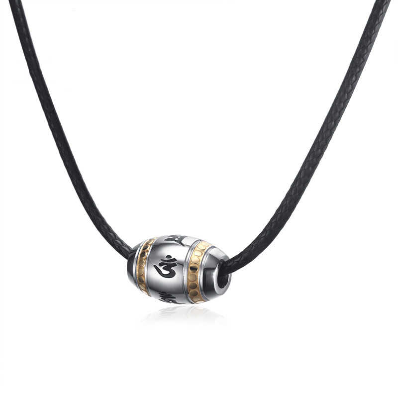 New Religious Proverbs Necklace Pendant Men Hippie Braided Leather Necklaces Stainless Steel Beaded Choker For Men Women Jewelry