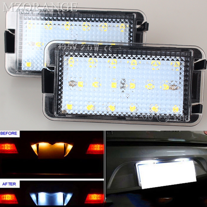1Pair LED Licence Plate Light Number Plate Lamp For Seat Altea Arosa Cordoba Ibiza Toledo 6000K White for seat alhambra iii cordoba ibiza v toledo toledo iv scoe 2015 new 2x6smd 5050led license plate light bulb source car styling