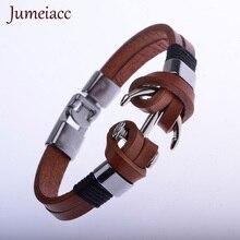 Jumeiacc Trendy Punk Vintage Pirate Anchol Viking Brown Genuine  Men Leather Bracelets & Bangle  Fashion  Male Accessories Gifts