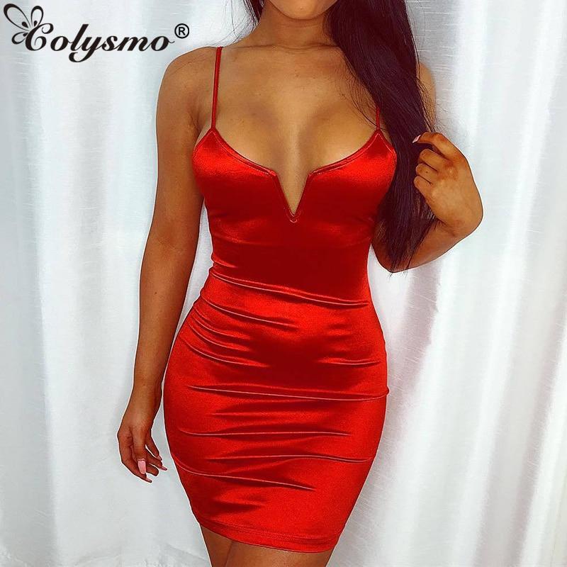NewAsia Bling Glossy Bodycon Dress Women Deep V neck Backless Sexy Party Dress Red Elastic Slim Fit Mini Dress Black VestidosDresses   -