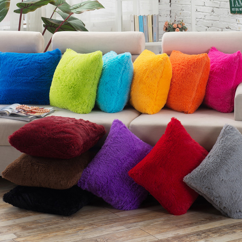 soft fur pillow covers for sofa home cushion cover solid thr