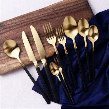 Luxury Stainless Steel Set Black Handle Cutlery Set Matte Gold Knife Fork Dinnerware Tableware