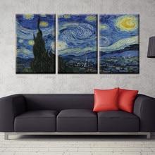 3 Panels Starry Night Painting