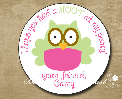 Personalized Owl Birthday Gift Sticker Party Favor Bag Labels Tags Decorations Kids Candy Box