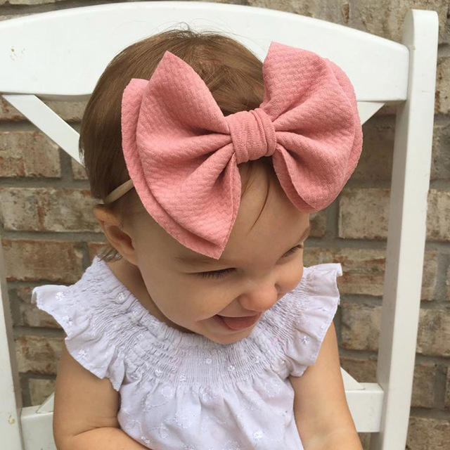 9 Colors Lovely Big Bow Headbands DIY Double deck Bowknot Nylon Hair Bands For Baby Girls Children Head Wraps Hair Accessories 4