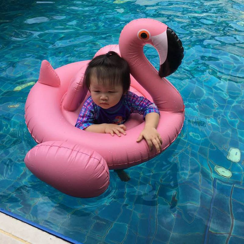 2016 Summer Baby Pink Flamingo Swimming Ring Inflatable Swan Swim Float Water Fun Pool Toys Swim
