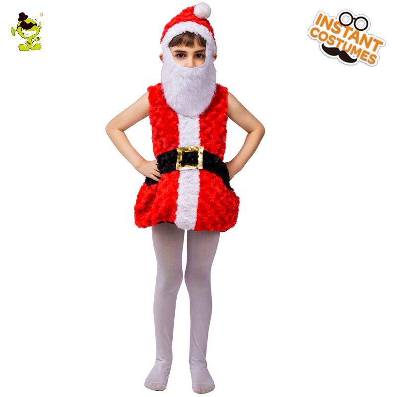 2018 Hot-selling Unisex Kids Santa Claus Costumes With Belt Santa Children Clothing  Role Play Fancy Dress for Christmas Party