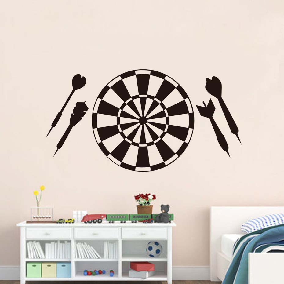 Dart Board Wall Stickers DIY Vinyl Art Sticker On The Door To Relax Sport Target Shooting Range Wall Decals For Playroom ...
