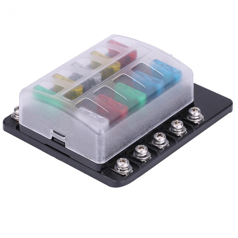 new 1 set 10 way circuit blade fuse box standard ato atc block holder kit for auto car truck boat blade fuse holder [ 950 x 950 Pixel ]