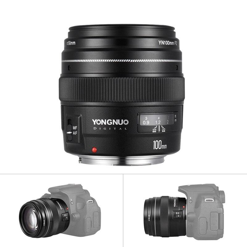 Yongnuo YN100mm F2 Moyen Téléobjectif Premier Objectif pour Canon EOS Rebel Caméra AF MF 5D 5D IV 1300D T6 760D 750D