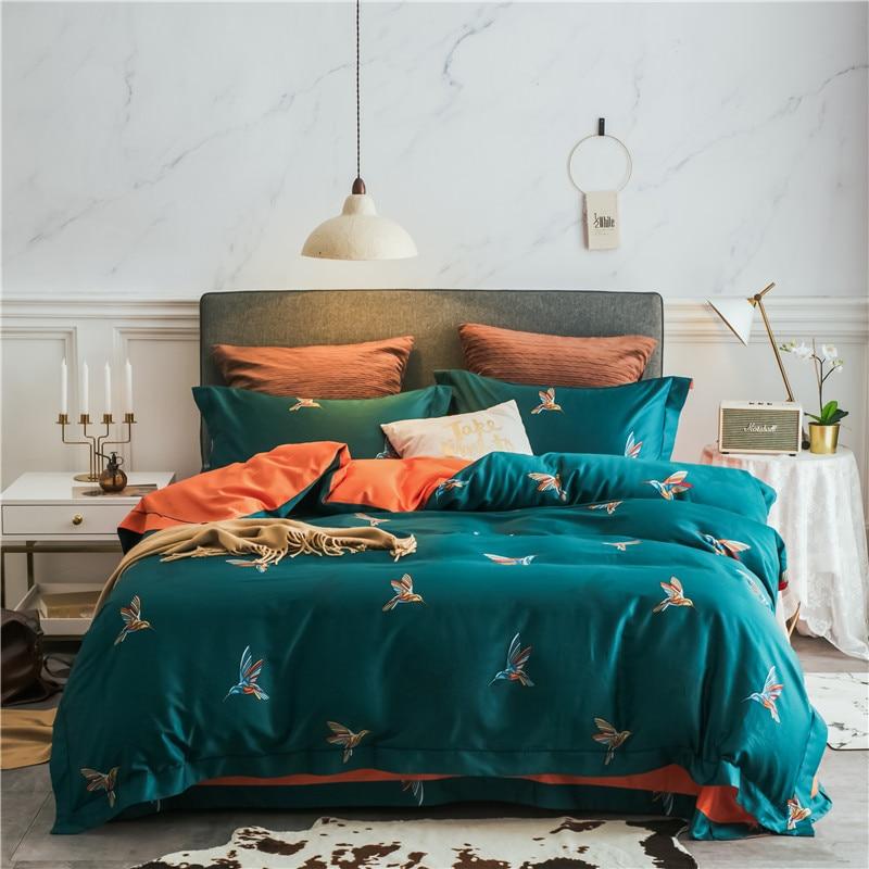 Nouveau produit vert 4 pièces ensemble de literie coton égyptien literie oiseaux linge de lit housse de couette ensemble drap de lit