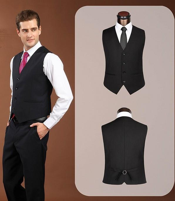 New Arrival Groom Vests Black Groomsmens/Best Man Vest Custom Made Size and Color Four Buttons Wedding/Prom/Dinner Waistcoat