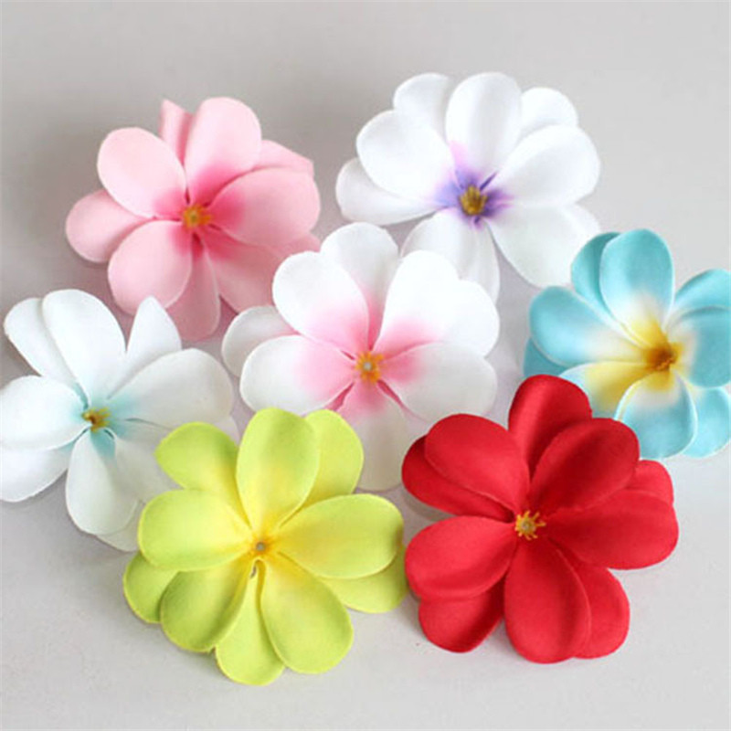 10Pcs 7.5cm Plumeria PE Foam Frangipani Artificial Flower Headdress Home Egg Flowers Wedding Decoration Event Party Supplies