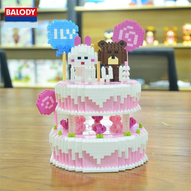 1800pcs DIY Creators Diamond Micro Building Block Happy Birthday Cake Bear Couple Nanoblock Bricks Toys For