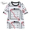 Women short sleeve long T shirt Harajuku Digital Print Casual Funny Shirt For Lady Hipster loose tees jumper TS-084