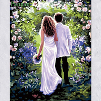 New 40 50cm Happiness Frameless Pictures DIY Painting By Numbers Coloring Kits Hand Painted Canvas Art