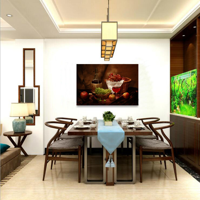 Restaurant Grapes Wine Bottle Ink Painting Dining Room Decorative Paintings Bar Rehears And Shops