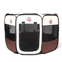 Moda Portátil Dobrável Barraca Pet Casa Cama de Gato Cão Tenda Canil Filhote de cachorro Gaiola Fácil Operação Octogonal Cerca Ao Ar Livre Suprimentos
