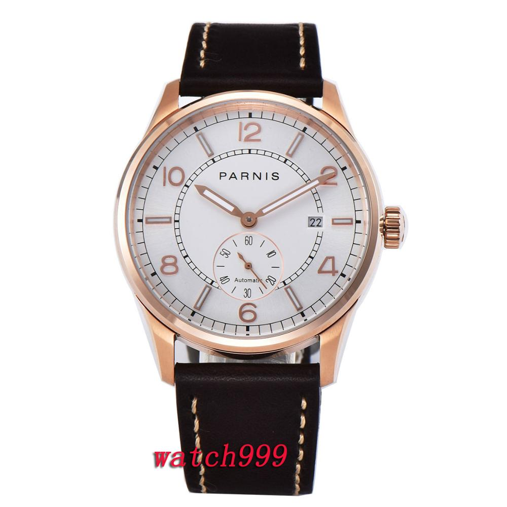NEW Rose gold men wris watch Leather strap clock 42mm Parnis black dial calendar Mechanical Automatic Mens WatchNEW Rose gold men wris watch Leather strap clock 42mm Parnis black dial calendar Mechanical Automatic Mens Watch